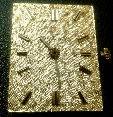 VINTAGE OMEGA 14k GOLD MENS DRESS WRIST WATCH FACE AND WORKINGS
