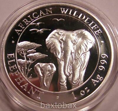 2015 SOMALI WILDLIFE AFRICAN ELEPHANT & BABY 1 oz SILVER *BU* ~Minted in Germany