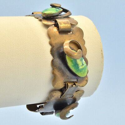 Vintage Bracelet 1950s Arts & Crafts Style Green Enamel Goldtone Jewellery