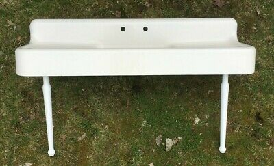 "Antique 75"" Cast Iron White Porcelain Kitchen Farm Sink with Legs Old Vtg 51-19E"