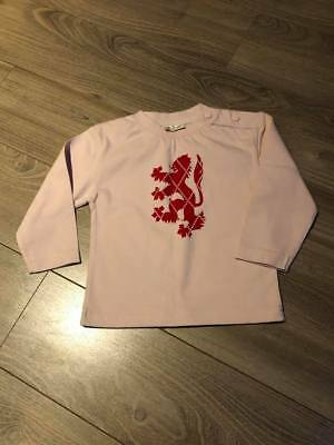 Pringle Of Scotland - Girl Pink 3/4 Sleeve Top With Lion Motif - Age 12-18 M New