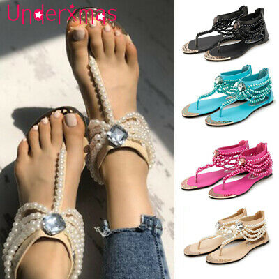 7ce286aa5a76 Womens Boho Pearl Sandals Ladies Summer Holiday Beach Rhinestone Flat Shoes  Size