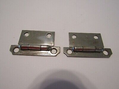 Vintage 40s CHROME Cabinet Door HINGES Lines Stripes Beveled Corners Flush Mount