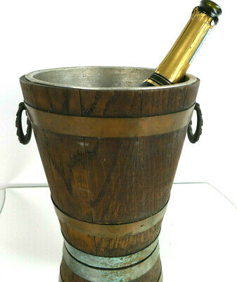 Vintage French Oak Wood & Copper Bound Lined Champagne Ice Bucket Wine Cooler