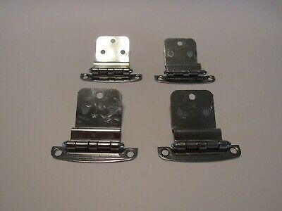 "Vintage CHROME HINGES 3/8"" Inset Cabinet Doors Lined Face Art Deco Two Pair"