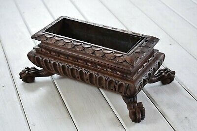Antique Carved Small Wooden Planter on Ball and Claw Feet,Indoor Planter,Trough