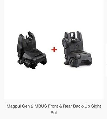 GENUINE NEW Magpul MBUS Gen 2 Front & Rear Sights Set Pair - Black