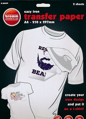 2 x Sheets of A4 T-Shirt Transfer Paper Iron On Fabric Heat Press Inkjet Print
