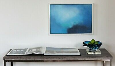 Original Abstract Blue Oil Painting, Signed Modern Painting  Framed Panel 2019
