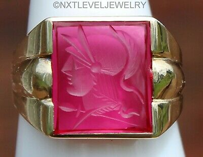 Antique Art Deco Hand Carved Ruby Intaglio 10k Solid Gold Men's Wax Seal Ring