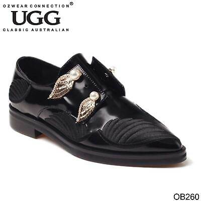 Ugg Ozwear Womens Casey Oxford Shoes With Gold Angel Wings Genuine Leather Ob260