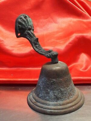 Vintage Wall Bronze / Brass Bell w green patina - great sound  design scrolling