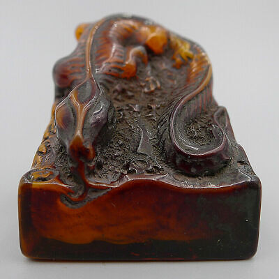 Hand Carved Lizard Chapter Stamp Seal Statue Sculpture Crafts Natural Old Jade