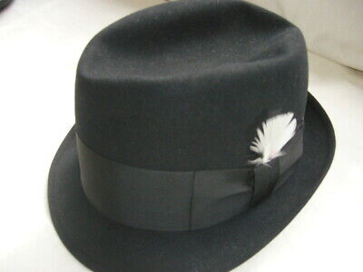 abfaafbb MEN'S FEDORA HAT BLACK WOOL W/FEATHER BY KNOX Size 6-7/8