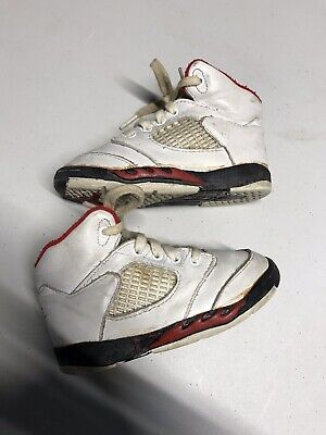 b5366b88a0bb Original 1990 NIKE AIR JORDAN 5 V Vintage Fire Red Leather Baby Toddler  Size 7