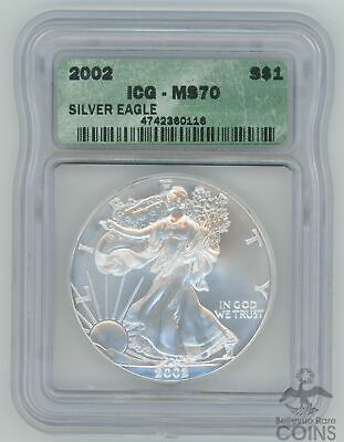 2002 United States $1 American Silver Eagle 1oz Silver Certified MS70 by ICG!