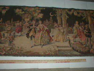 Antique French Tapestry 54x19 Chateau Courtyard Romantic Ladies Dancing Scene