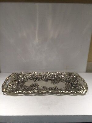 Silver Plate Serving Tray Platter By Godinger Grape Design