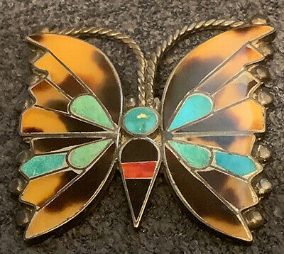 Best Exceptional Early Very Fine Zuni Rosita Anselm Wallace Butterfly Pin c1940s