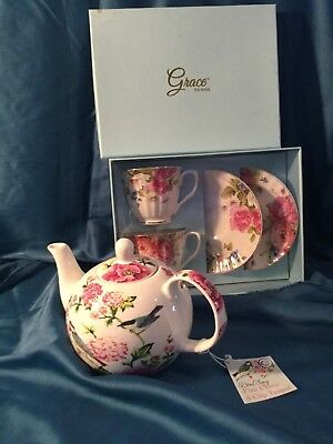 Nib Grace Teaware Tea Set For Two And English Table Bird Song Teapot Cup Saucer