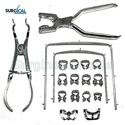 Rubber Dam Kit Starter of 18 pcs with Frame Punch Clamps Dental Instruments