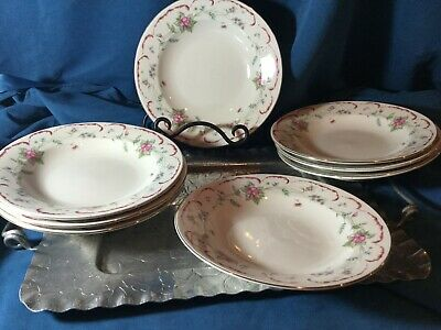 Lot of 8 soup cereal rim bowl tabletops unlimited  Romance pattern floral