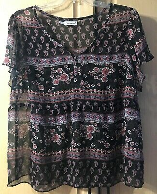 8692ef12e03 MAURICES PLUS Size 1 1X SHEER BLACK MULTICOLOR PRINT BLOUSE SHORT SLV TOP  Shirt
