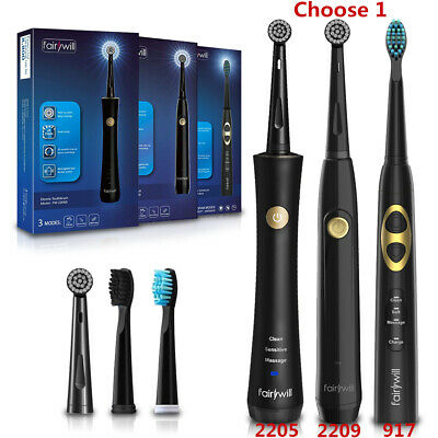Fairywill Sonic Rotating Toothbrush with Timer Black 3 Clean Modes Rechargeable