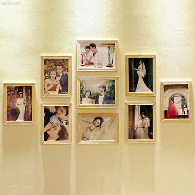 "3037 9pcs/set 7"" Inch Hanging Style Picture Decorative Wooden Photo Frame Home"