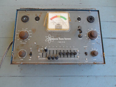 Vintage Commercial Trades Institute Tube Checker Tester Model TC-10