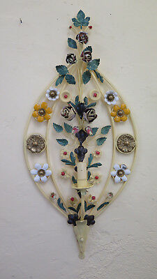 Wall Light Vintage with Flowers Wrought Iron Handmade Arts and Craft