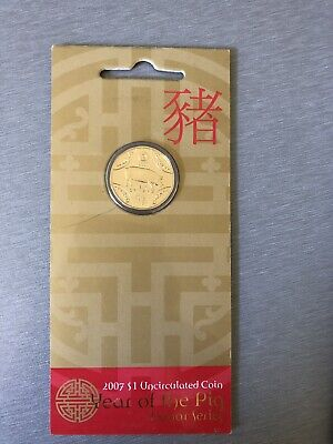 2007 Royal Australian Mint $1 UNC Year of the Pig Lunar Series Carded Coin