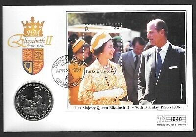 Turks & Caicos $5 coin on 1996 QEII 70th Birthday PNC first day cover.