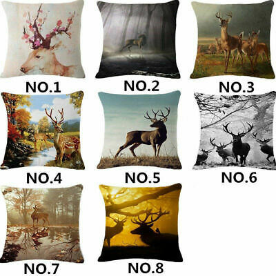 18'' Sika deer Linen Cotton Fashion Throw Pillow Case Cushion Cover Home Decor