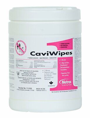 CaviWipes1 by Metrex Disinfecting Towelettes - Large  160/Canister 4 PACK