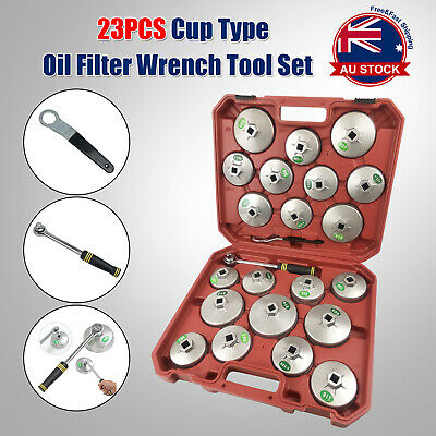 23pcs Cup Type Aluminium Oil Filter Wrench Removal Socket Remover Tool Kit +