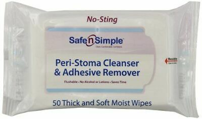 Safe N' Simple Peri-Stoma Adhesive Remover Wipes ''5 x 7 , 50 Count'' 8 Pack
