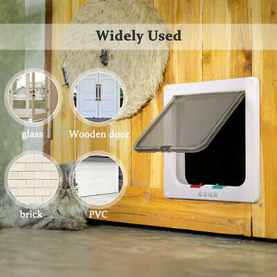 4-Way Pet Cat Puppy Dog Gates Door Lock Lockable Safe Flap Locking Gate White US