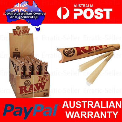 Box of 32 RAW 1 1/4 Size Papers Pre Rolled Paper Cone Classic 84mm 6 Per Pack