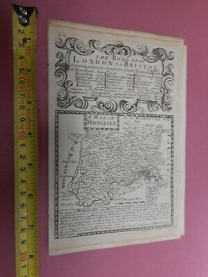 100% Original Middlesex London Map By E Bowen  C1720 Vgc