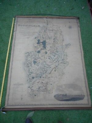 100% Originalvery  Large Scale Nottinghamshire   Map By Greenwood C1824