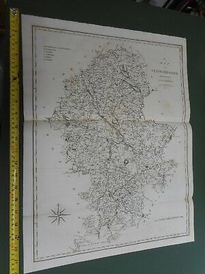 100% Original Large Staffordshire Map By Cary/Stockdale C1805 Vgc