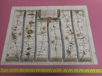 100% Original Large  Stony Stratford To  Derby Road  Map By John Ogilby C1679