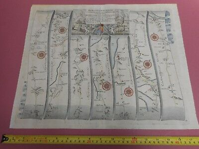 100% Original Large Welshpool To Carnarvon Road Map By Ogilby C1679 North Wales