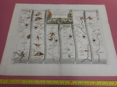 100% Original Large Gloucester To Coventry Road Map By John Ogilby C1679 Warwick