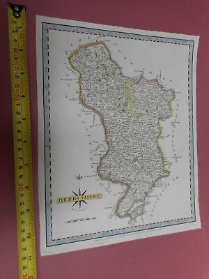 100% Original Derbyshire Map By John Cary  C1787 Vgc Hand Coloured