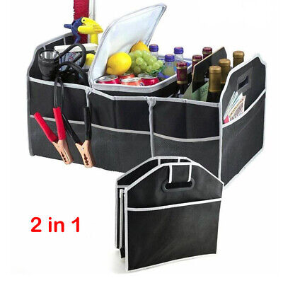 Car Boot Organiser Foldable Shopping Tidy Storage Heavy Duty Collapsible 2 in 1
