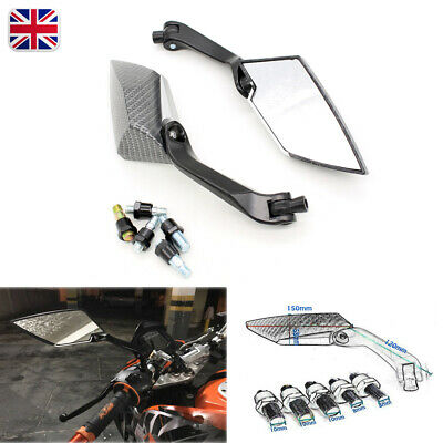 Carbon Custom Motorcycle Mirrors Universal 8mm 10mm Thread Motorbike Scooter Kit