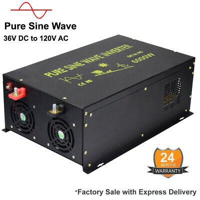 36V DC to 110/120V AC Pure Sine Wave Inverter 6000W Car Power Inverter RV Solar