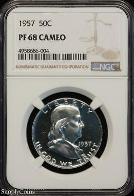 1957 Franklin Silver Half Dollar ~ NGC PF68 CAMEO ~ FROSTY CAM PROOF! R8-686-004